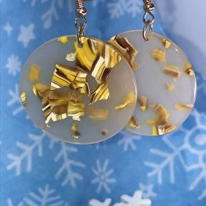 Gold/Yellow Fleck Acetate round dangle earrings
